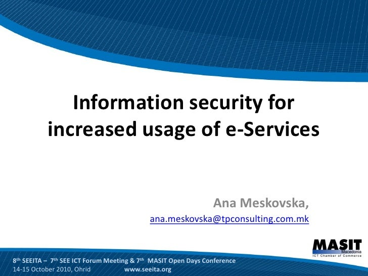 Information security for            increased usage of e-Services                                                         ...