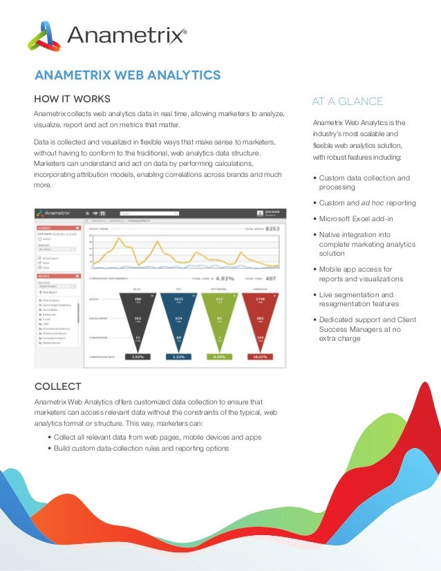 ANAMETRIX WEB ANALYTICS How it Works  AT A GLANCE  Anametrix collects web analytics data in real time, allowing marketers ...