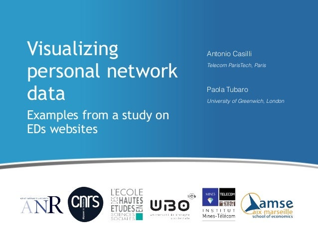 Visualizing personal network data Examples from a study on EDs websites  Antonio Casilli Telecom ParisTech, Paris  Paola T...