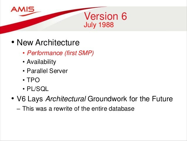 an introduction to the history of the oracle database Oracle version 4 also brought us the introduction of the export/import utilities and the report writer, which allows one the ability to create a report based on a query 1985 - oracle release 5 with the introduction of version 5 in 1985, oracle addressed the increasing use of the internet in business computing.