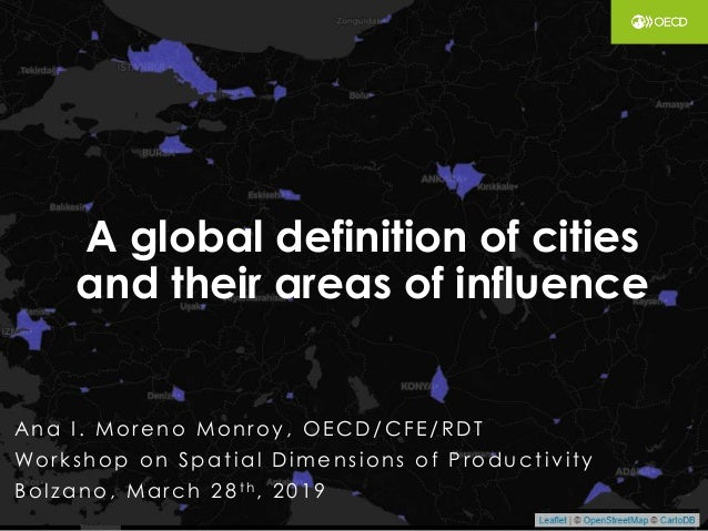 A global definition of cities and their areas of influence Ana I . More no Monroy, OE CD/CFE /RDT Workshop on Spat ial Dim...