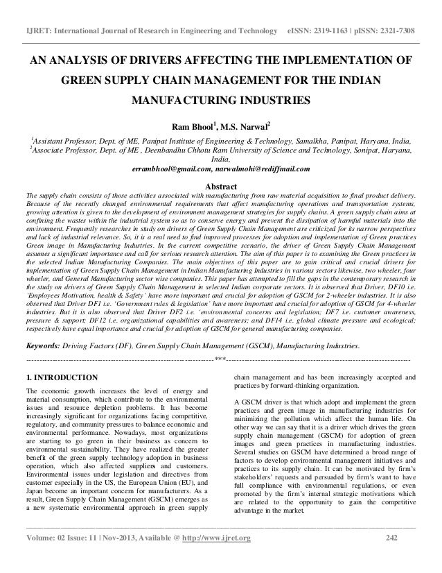 green supply chain management master thesis Master theses we welcome students students who have already conducted their project study and / or the master seminar at our management, retail, supply chain.