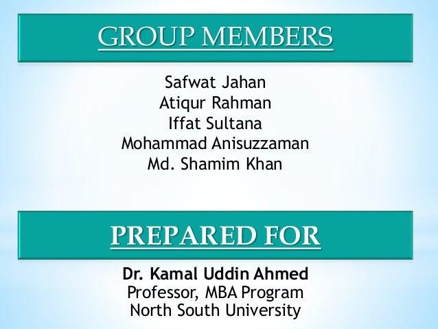 GROUP MEMBERS Safwat Jahan Atiqur Rahman Iffat Sultana Mohammad Anisuzzaman Md. Shamim Khan Dr. Kamal Uddin Ahmed Professo...