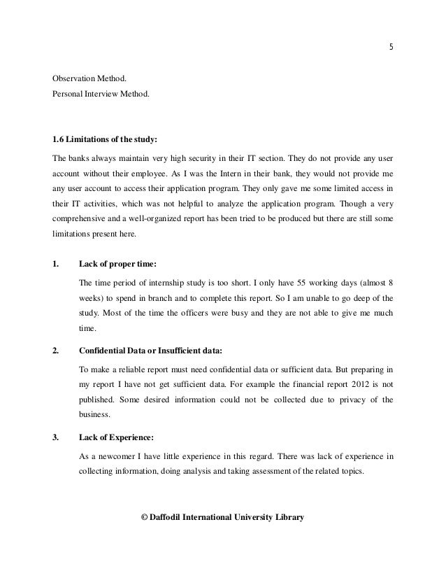 5 © Daffodil International University Library Observation Method. Personal Interview Method. 1.6 Limitations of the study:...