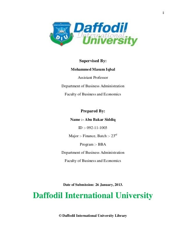 ii © Daffodil International University Library Supervised By: Mohammed Masum Iqbal Assistant Professor Department of Busin...