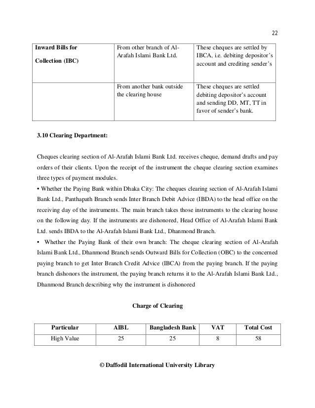 22 © Daffodil International University Library Inward Bills for Collection (IBC) From other branch of Al- Arafah Islami Ba...