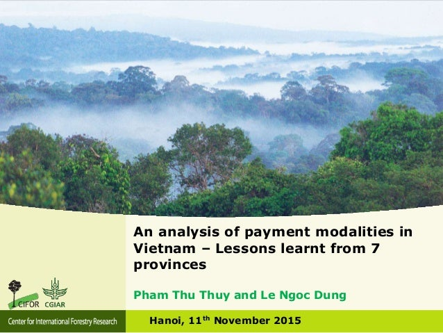 An analysis of payment modalities in Vietnam – Lessons learnt from 7 provinces Hanoi, 11th November 2015 Pham Thu Thuy and...