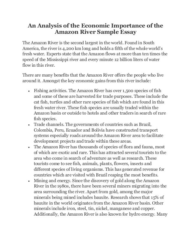 an analysis of the economic importance of the amazon river sample ess  an analysis of the economic importance of the amazon river sample essay the amazon river is