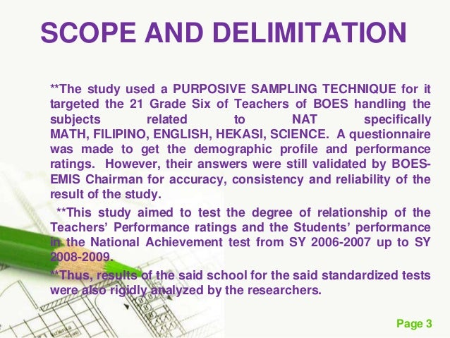 Customized research paper delimitation sample