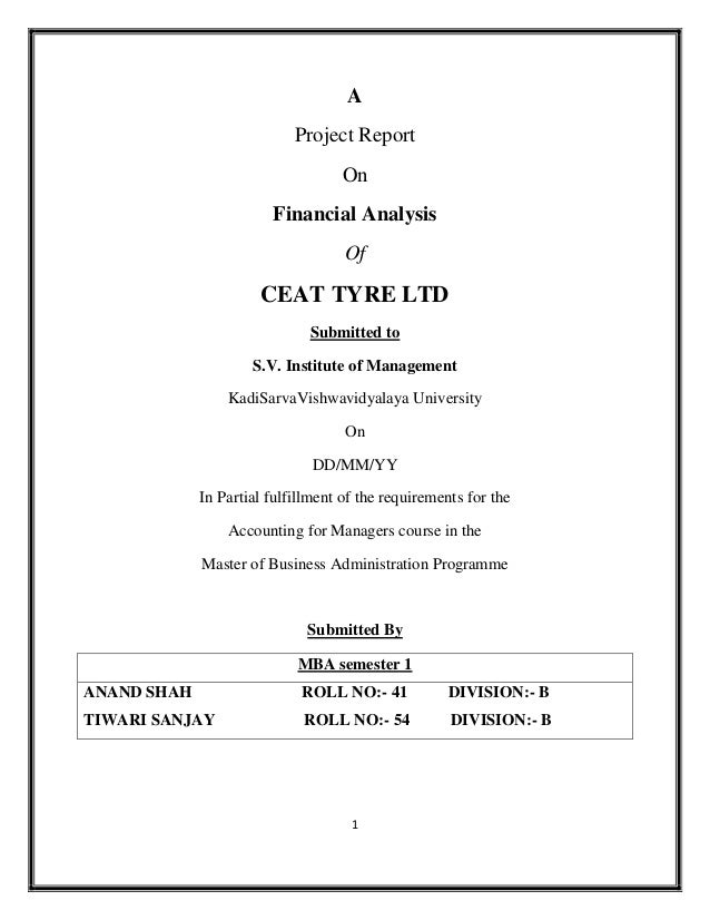 A                            Project Report                                   On                        Financial Analysis...