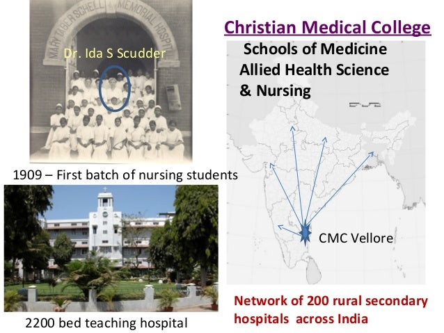 • CMC hospital • hospitals CMC Vellore Network of 200 rural secondary hospitals across India 1909 – First batch of nursing...