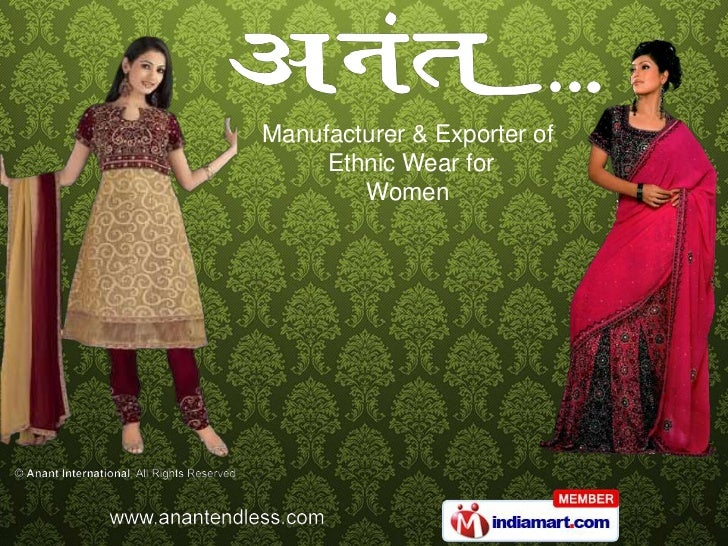 Manufacturer & Exporter of<br /> Ethnic Wear for <br />Women <br />
