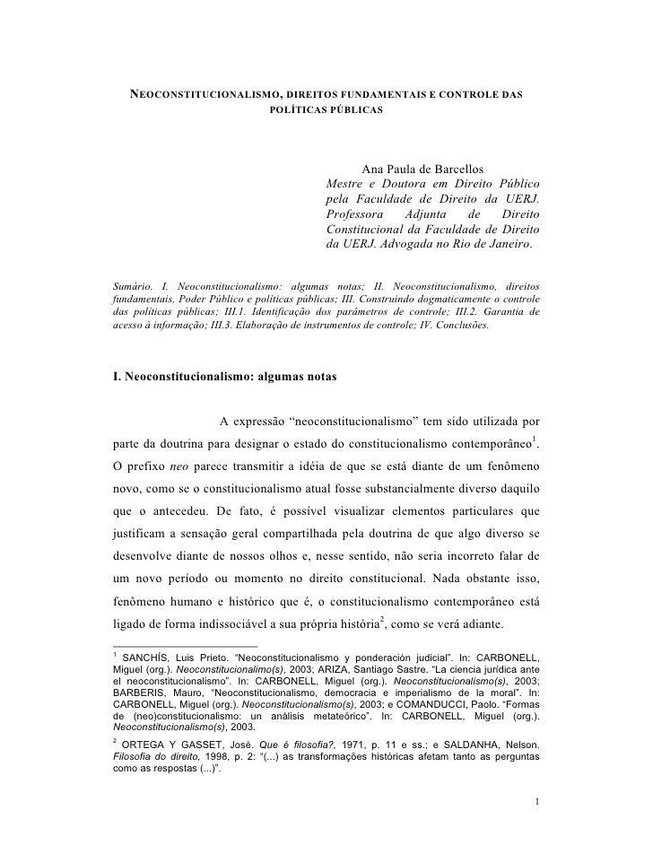 NEOCONSTITUCIONALISMO, DIREITOS FUNDAMENTAIS E CONTROLE DAS                                  POLÍTICAS PÚBLICAS           ...