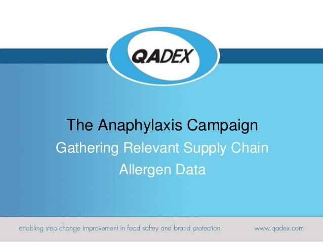 The Anaphylaxis Campaign Gathering Relevant Supply Chain Allergen Data