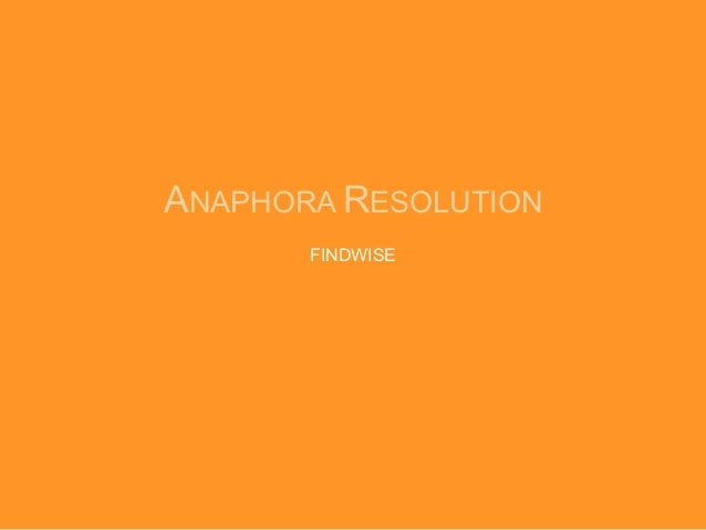 ANAPHORA RESOLUTION       FINDWISE
