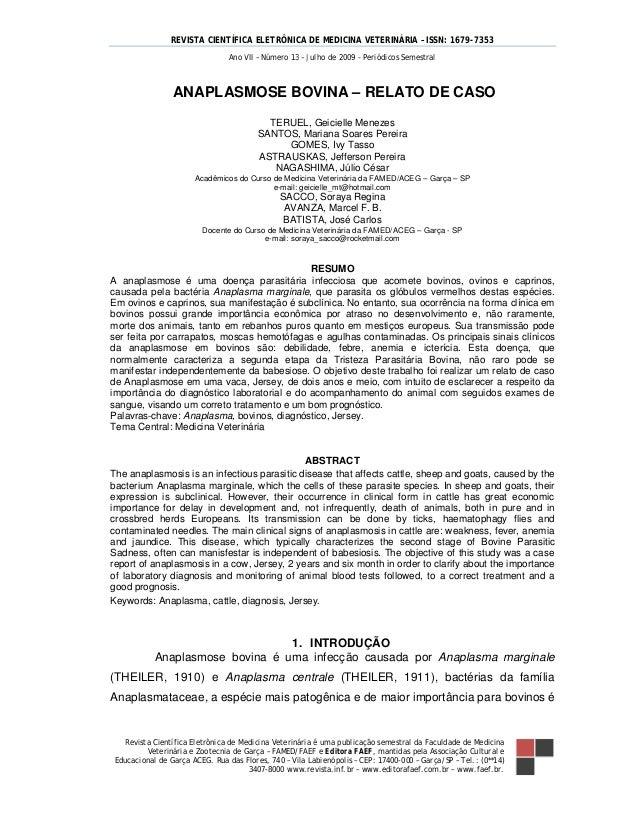 REVISTA CIENTÍFICA ELETRÔNICA DE MEDICINA VETERINÁRIA – ISSN: 1679-7353 Revista Científica Eletrônica de Medicina Veteriná...