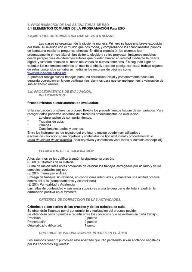 5. PROGRAMACIÓN DE LAS ASIGNATURAS DE ESO. 5.1 ELEMENTOS COMUNES DE LA PROGRAMACIÓN Para ESO 5.b)METODOLOGÍA DIDÁCTICA QUE...