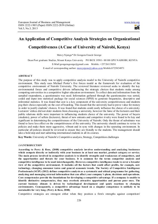 An Application Of Competitive Analysis Strategies On