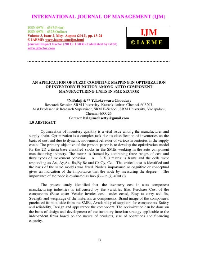International Journal of Management (IJM), OF MANAGEMENT (IJM) –  INTERNATIONAL JOURNAL ISSN 0976 – 6502(Print), ISSN 0976...