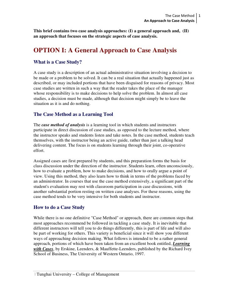 The Case Method 1                                                                    An Approach to Case Analysis   This b...