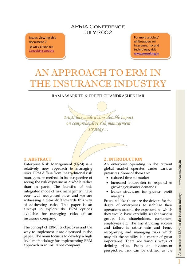 AnapproachtoERMintheinsuranceindustry|www.conzulting.in 1 APRIA Conference July 2002 AN APPROACH TO ERM IN THE INSURANCE I...