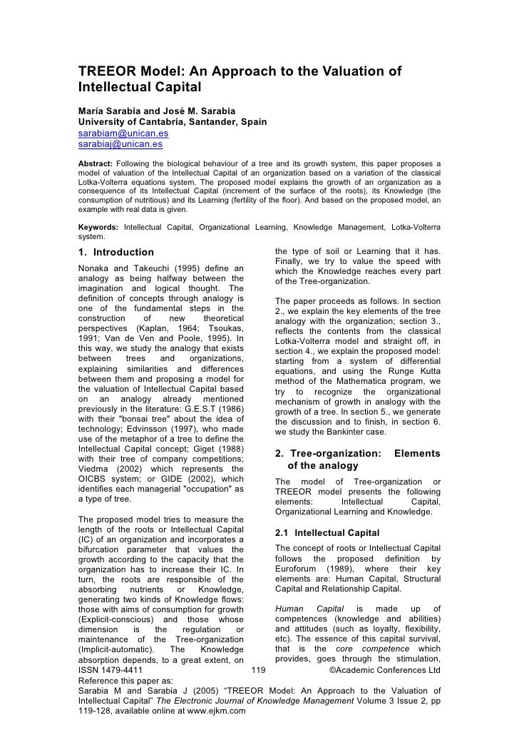 TREEOR Model: An Approach to the Valuation of Intellectual Capital María Sarabia and José M. Sarabia University of Cantabr...