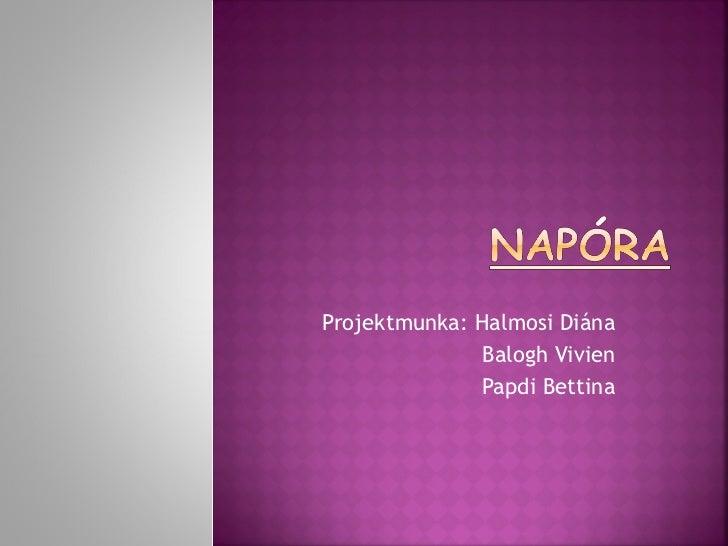 Projektmunka: Halmosi Diána Balogh Vivien Papdi Bettina