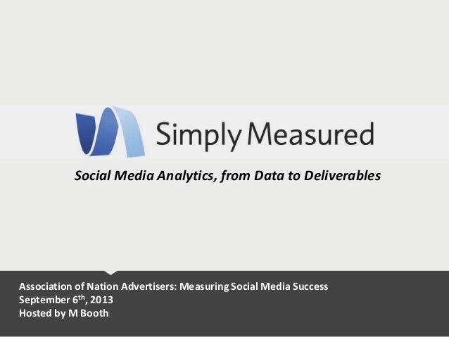 Social Media Analytics, from Data to Deliverables Association of Nation Advertisers: Measuring Social Media Success Septem...