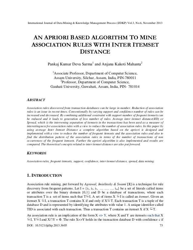 International Journal of Data Mining & Knowledge Management Process (IJDKP) Vol.3, No.6, November 2013  AN APRIORI BASED A...