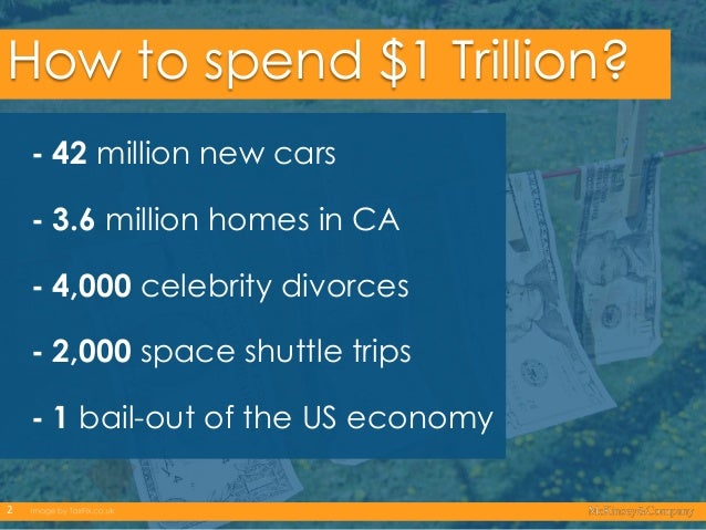 How to spend $1 Trillion? - 42 million new cars - 3.6 million homes in CA - 4,000 celebrity divorces - 2,000 space shuttle...