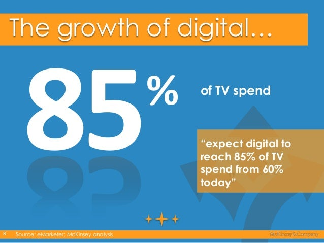 """The growth of digital…  %  of TV spend  """"expect digital to reach 85% of TV spend from 60% today""""  """"  8  Source: eMarketer;..."""