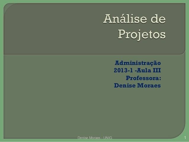 Administração 2013-1 -Aula III Professora: Denise Moraes  Denise Moraes - UNIG  1