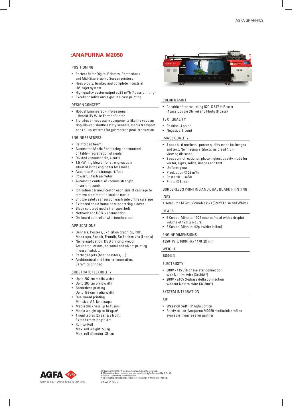 AGFA :Anapurna M2050 inkjet system