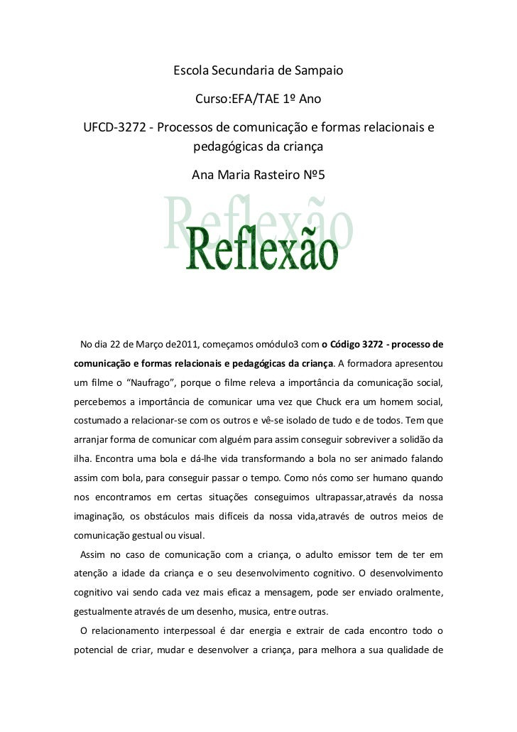 Escola Secundaria de Sampaio                           Curso:EFA/TAE 1º Ano  UFCD-3272 - Processos de comunicação e formas...