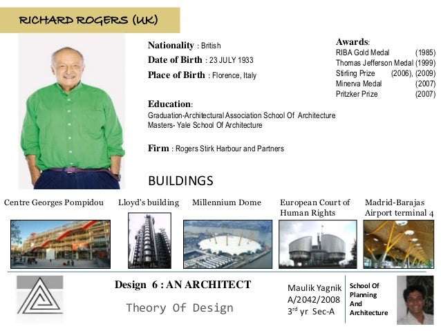 RICHARD ROGERS (UK) Date of Birth : 23 JULY 1933 Place of Birth : Florence, Italy Education: Graduation-Architectural Asso...