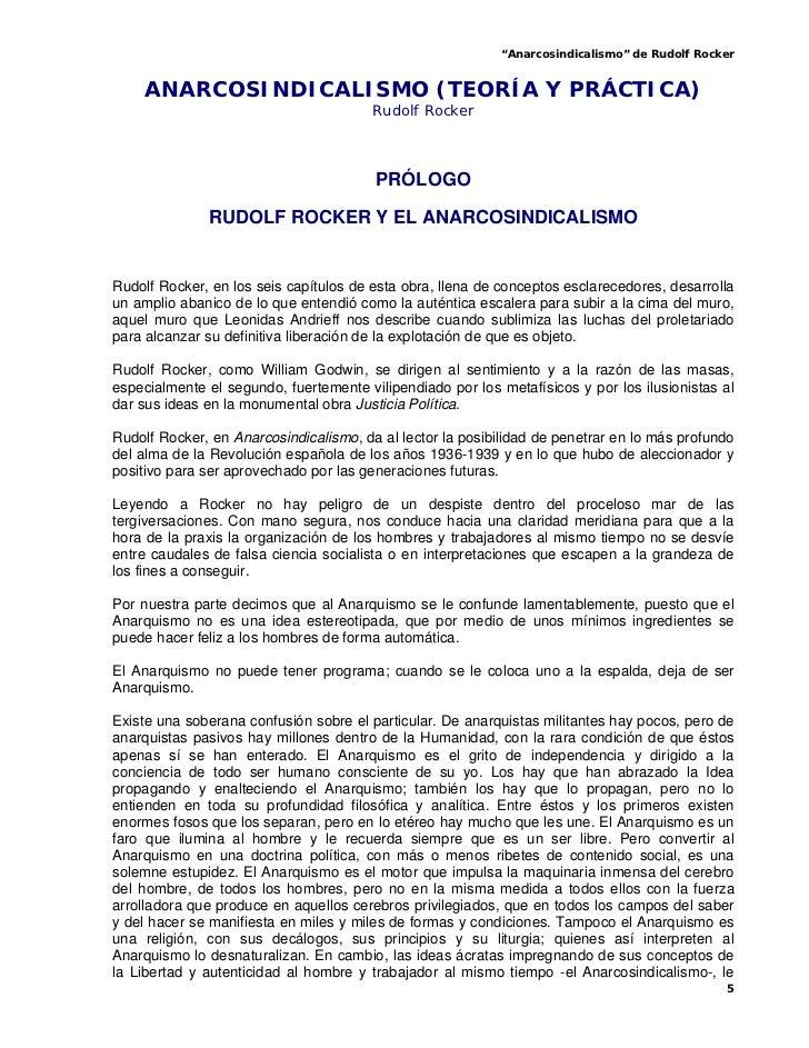 """""""Anarcosindicalismo"""" de Rudolf Rocker    ANARCOSINDICALISMO (TEORÍA Y PRÁCTICA)                                        Rud..."""