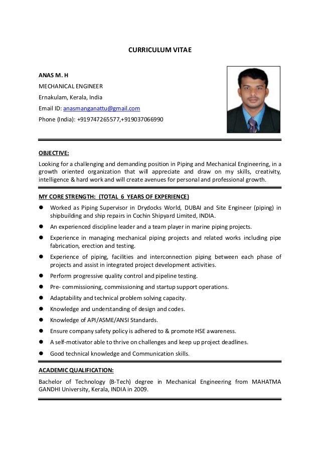 mechanical piping engineer resume