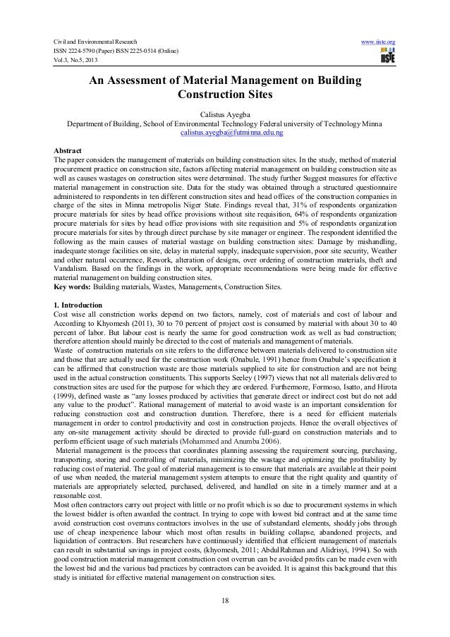 Civil and Environmental Research www.iiste.orgISSN 2224-5790 (Paper) ISSN 2225-0514 (Online)Vol.3, No.5, 201318An Assessme...