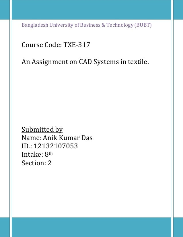 Cad Systems In Textile Bubt