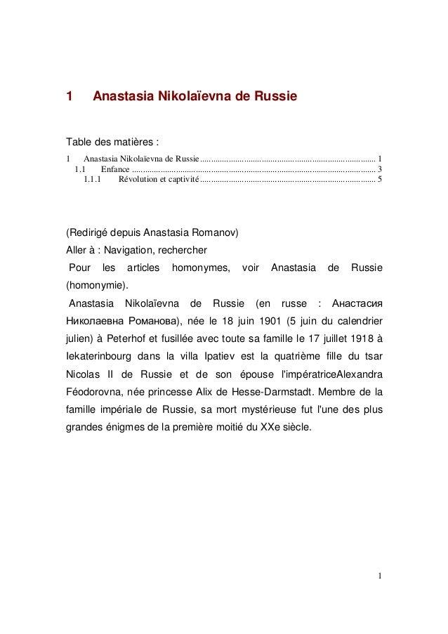 1  Anastasia Nikolaïevna de Russie  Table des matières : 1  Anastasia Nikolaïevna de Russie .................................