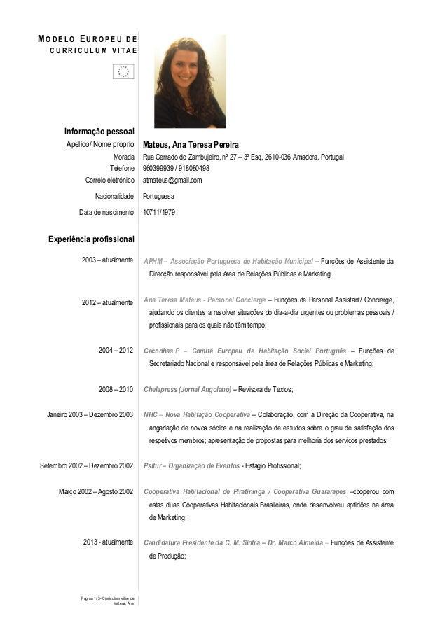 Página 1/ 3- Curriculum vitae deMateus, AnaM O D E L O EU R O P E U D EC U R R I C U L U M V I T A EInformação pessoalApel...