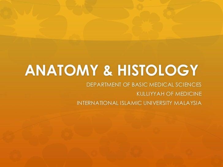 ANATOMY & HISTOLOGY        DEPARTMENT OF BASIC MEDICAL SCIENCES                        KULLIYYAH OF MEDICINE     INTERNATI...
