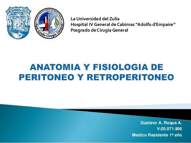 Anatomía y Fisiología del Peritoneo y Retroperitoneo - 2017