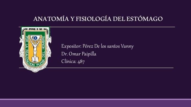 ANATOMÍAYFISIOLOGÍADELESTÓMAGO Expositor: Pérez De los santos Vanny Dr. Omar Paipilla Clínica: 487
