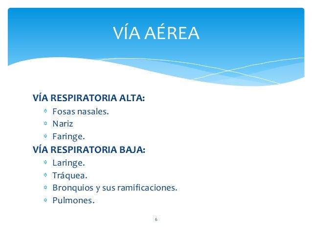 VÍA AÉREA 6 VÍA RESPIRATORIA ALTA: Fosas nasales. Nariz Faringe. VÍA RESPIRATORIA BAJA: Laringe. Tráquea. Bronquios y sus ...