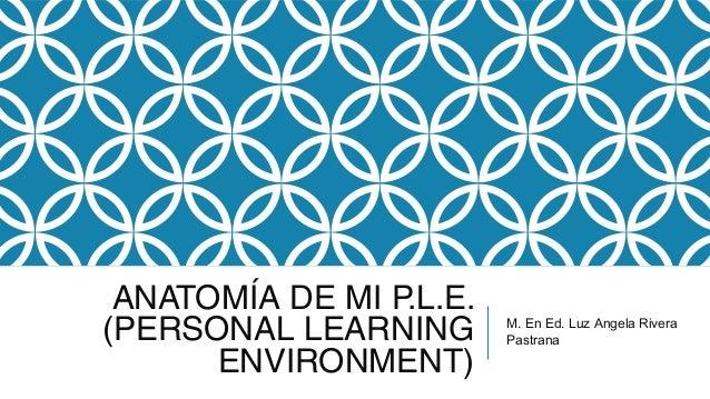 ANATOMÍA DE MI P.L.E. (PERSONAL LEARNING ENVIRONMENT) M. En Ed. Luz Angela Rivera Pastrana