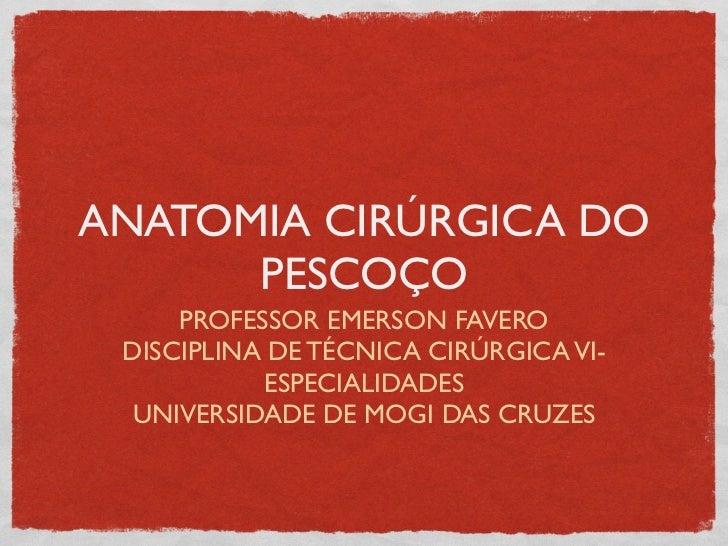 ANATOMIA CIRÚRGICA DO      PESCOÇO     PROFESSOR EMERSON FAVERO DISCIPLINA DE TÉCNICA CIRÚRGICA VI-           ESPECIALIDAD...
