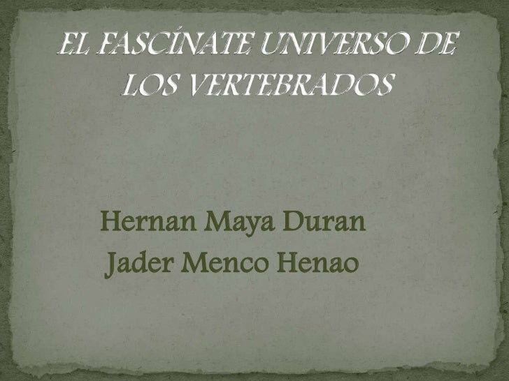 EL FASCÍNATE UNIVERSO DE LOS VERTEBRADOS<br />HernanMaya Duran <br />JaderMenco Henao<br />