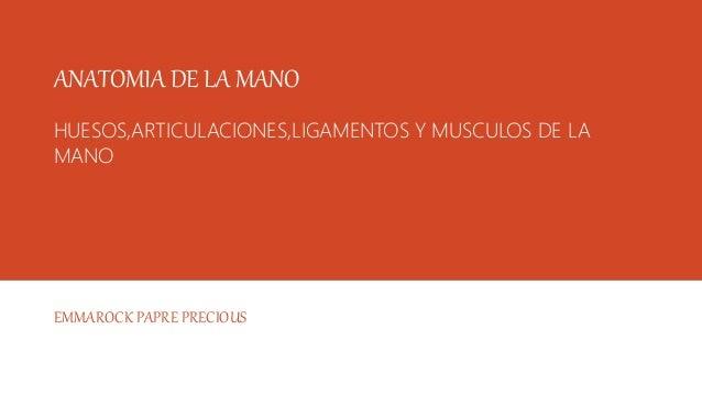 ANATOMIA DE LA MANO HUESOS,ARTICULACIONES,LIGAMENTOS Y MUSCULOS DE LA MANO EMMAROCK PAPRE PRECIOUS