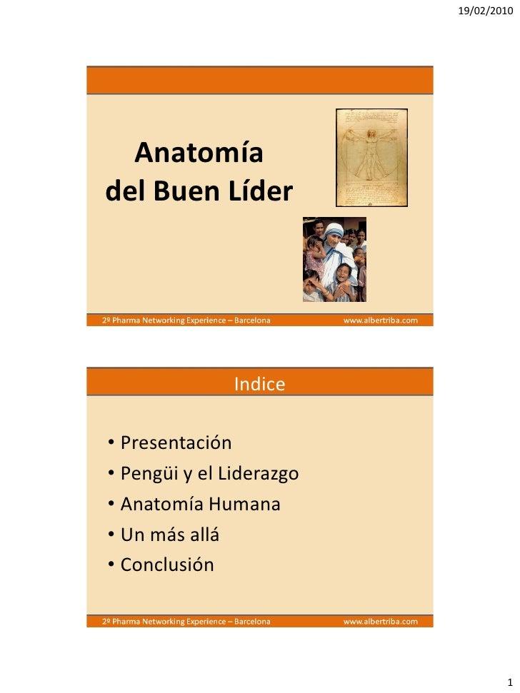 19/02/2010       Anatomía del Buen Líder                    Indice  • Presentación • Pengüi y el Liderazgo • Anatomía Huma...